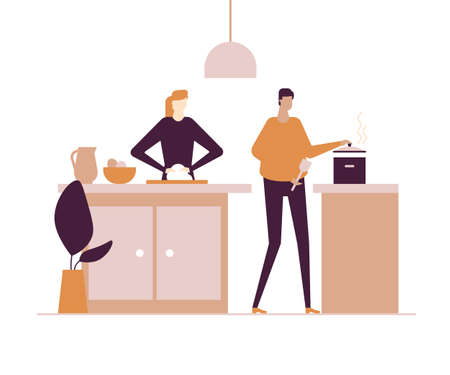 Family cooking - flat design style colorful illustration on white background. Characters, wife and husband preparing dinner in the kitchen. Woman kneading dough, man stirring something in the saucepan Illustration