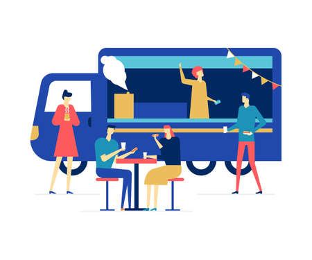 Street food festival - flat design style colorful illustration on white background. Composition with male, female characters eating snacks, drinking coffee and soda at a truck. Entertainment concept