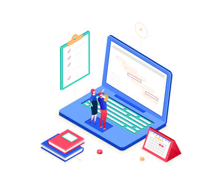 Task management - modern colorful isometric vector illustration on white background. A composition with male, female business colleagues discussing their plans, laptop, check list, books and calendar Vettoriali