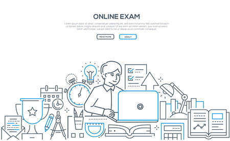 Online exam - modern line design style web banner