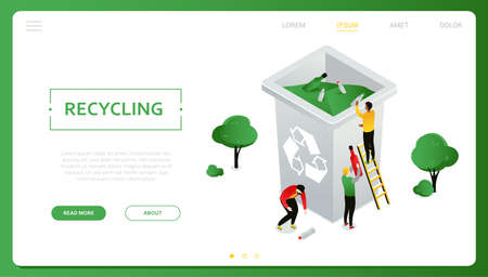 Recycling - modern colorful isometric vector web banner