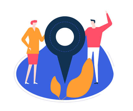 We are here - flat design style colorful illustration on white background. High quality unusual composition with characters, business man, woman holding a map pointer, showing office or shop location