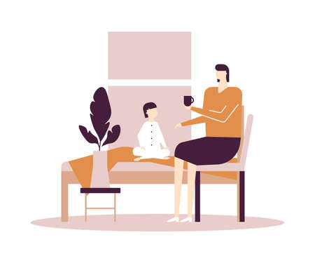 Mother and daughter - flat design style colorful illustration on white background. A composition with parent talking with child, a cute kid in pajamas sitting on a bed. Woman drinking tea. Family life Standard-Bild - 125468070