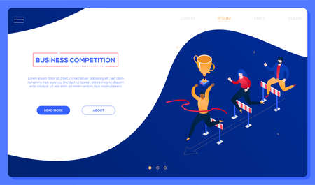 Business competition - modern colorful isometric vector web banner on blue background with copy space for text. Header with male, female characters jumping over obstacles, hurdles. Leadership concept