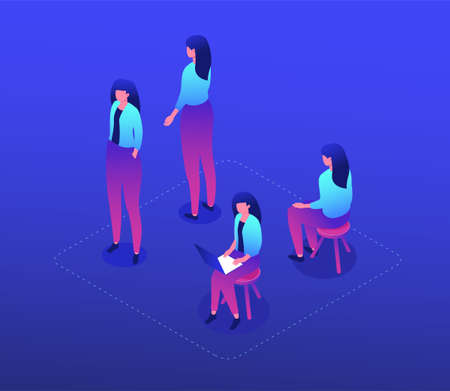 Female worker - modern vector isometric character set isolated on blue background. A collection with a cute woman in different positions, sitting on a stool, standing front, back, working with laptop Illustration