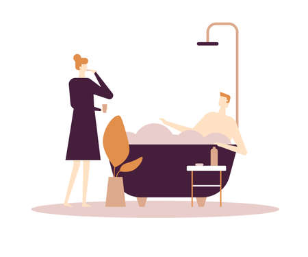 Daily routine - flat design style colorful illustration. High quality composition with characters, wife and husband in the bathroom. Woman cleaning her teeth, man relaxing in a bathtub with foam Stockfoto - 125468074