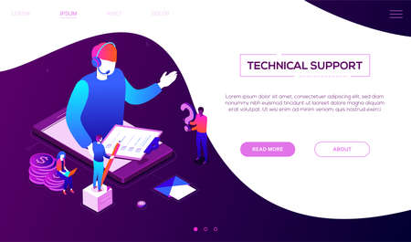 Technical support - colorful isometric vector web banner on purple background with copy space for text. A header with a male call center operator in headset on smartphone screen holding check list Foto de archivo - 125330344