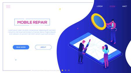 Servizio di riparazione mobile - banner web vettoriale isometrico colorato moderno