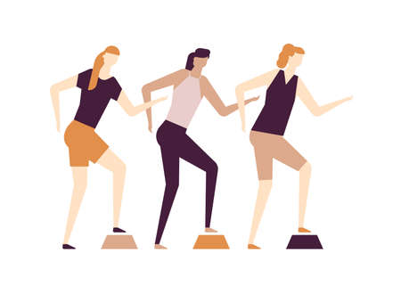 Girls doing fitness - flat design style colorful illustration on white background, brown palette. High quality composition with active female characters, women doing exercise with a stepper at the gym