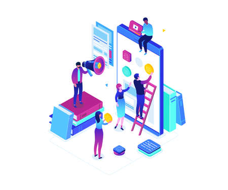 Mobile app development - modern colorful isometric vector illustration on white background. High quality composition with cute characters, developers designing a smartphone interface, placing buttons Ilustracja