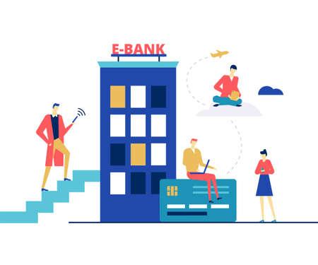 E-banking concept - flat design style colorful illustration  イラスト・ベクター素材