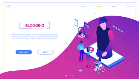 Blogging online - modern colorful isometric vector web banner with copy space for text. Characters watching live stream on smartphone screen, male blogger broadcasting, reviewing new devices, camera