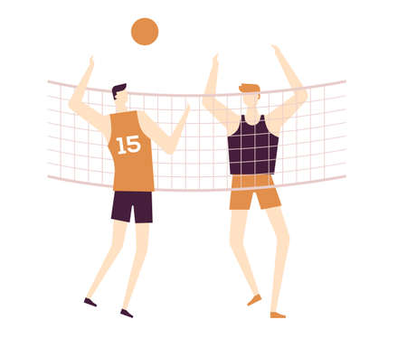 Men playing volleyball - flat design style colorful illustration on white background, brown palette. High quality composition with male characters, boys in sportswear doing sport. Healthy lifestyle