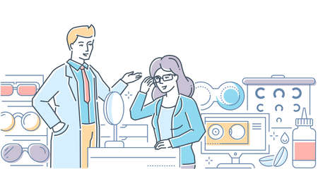 Optical store - modern line design style illustration on white background. Composition male worker helping a female customer to choose glasses, frames, images of contact lenses, accessories, eye chart