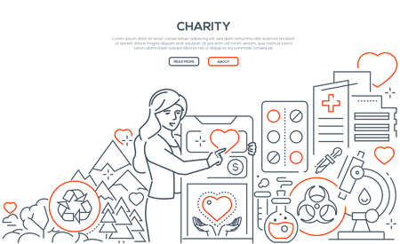 Charity - modern line design style web banner on white background with copy space for your text. Ecology, medical care, nature, financial help themes. Woman using mobile app to participate in campaign Stock Illustratie