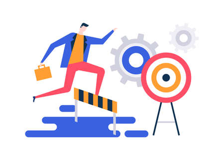 Goal achievement - colorful flat design style illustration on white background. Unusual composition with a businessman jumping over obstacles, hurdles on the way to the target overcoming difficulties