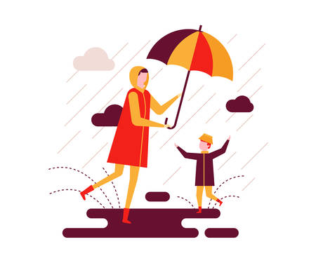 Rainy day - colorful flat design style illustration on white background. Bright unusual composition with a mother and a child walking with an umbrella, a boy slopping about in puddles. Weather concept