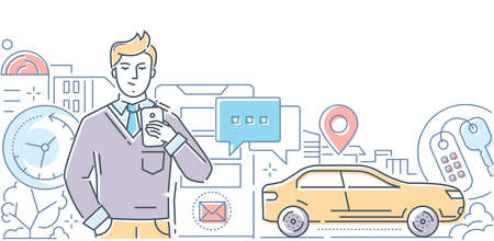 Car sharing - modern line design style illustration on white background. A composition with a man with a smartphone, using mobile app, image of a vehicle, keys, city buildings Illustration