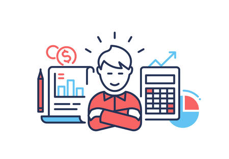 Financial success - modern line design style illustration on white background. A composition with a businessman with arms across, images of calculator, diagrams, pen, document. Business growth concept
