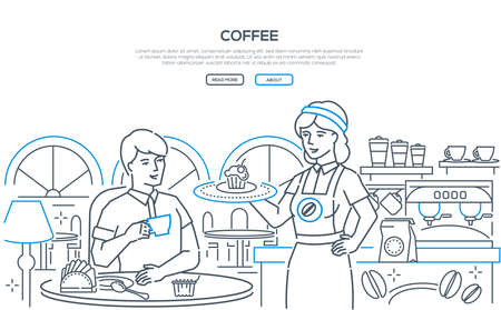 Coffee - modern line design style web banner on white background with copy space for text. Composition with a female barista holding a tray with cupcake, a man sitting in a cafe at the table, drinking