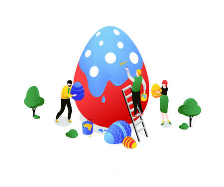 Happy Easter - modern colorful isometric vector illustration on white background. Bright unusual composition with male, female characters dyeing a big egg with a paint roller, celebrating the holiday