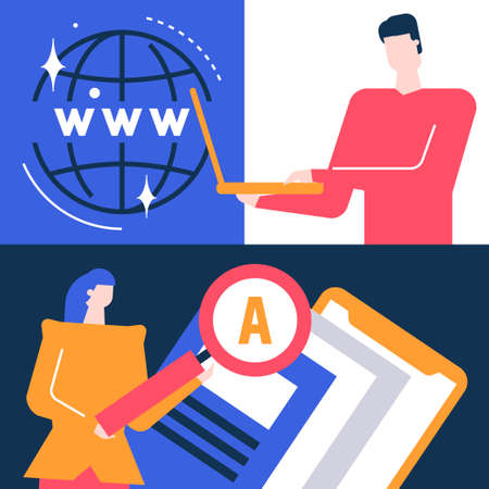 Search concept - flat design style colorful illustration. Unusual composition with male, female characters looking for data on the Internet with magnifying glass, working with laptop, image of a globe Иллюстрация