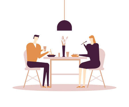 Family having dinner - flat design style colorful illustration on white background. A composition with characters, wife, husband eating at the table at home in the dining room. Everyday life concept