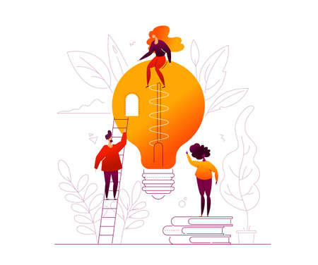 Bright idea - flat design style colorful illustration on white background. High quality composition with cute characters and big lightbulb, linear elements, leaves, books, ladder. Inspiration theme