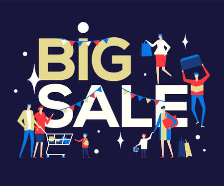 Big Sale - flat design style colorful illustration on blue background. High quality composition with male, female characters, families with shopping bags, cart. Discount, special offer concept