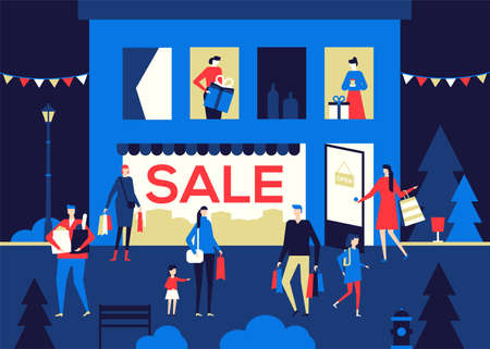 Big Sale - flat design style colorful illustration on dark blue background. High quality composition with male, female characters, buying products and gifts in the store. Shopping, discount concept Çizim