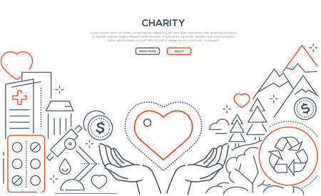Charity - modern line design style web banner
