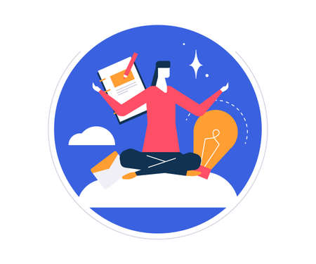 Mindfulness at work - colorful flat design style illustration on white background in a round frame. Bright unusual composition with a businesswoman, female manager meditating, trying to release stress Illustration