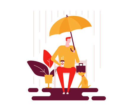 Rainy day - colorful flat design style illustration on white background. Bright composition with a boy sitting on a bench with an umbrella, drinking coffee, a cute dog. Weather types, seasonal concept