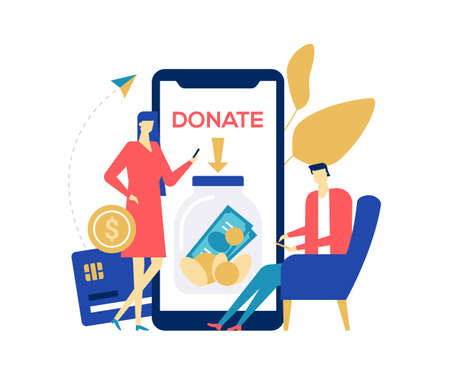 Charity and donation - colorful flat design style illustration on white background. A composition with male, female characters donating money, using smartphones to support a fund, organization Foto de archivo - 125275619