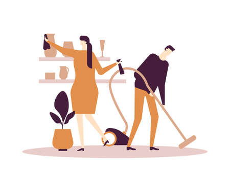 Household chores - flat design style colorful illustration on white background. Composition with characters, wife and husband. Woman dusting, man vacuum cleaning in the living room. Everyday life