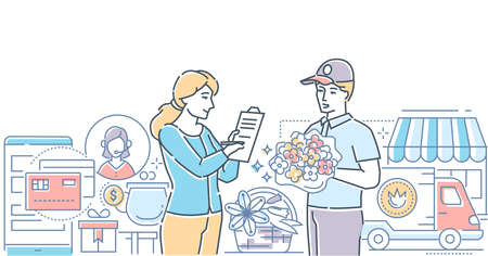 Flower delivery - modern line design style vector illustration on white background with copy space for text. High quality composition with a young woman taking a bouquet from a boy, signing papers