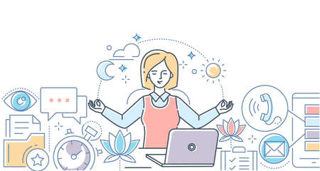 Mindfulness at work - modern line design style illustration on white background. A colorful composition with a businesswoman meditating in the office, sitting at the laptop, trying to release stress