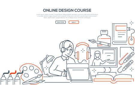 Online design course - modern line design style web banner