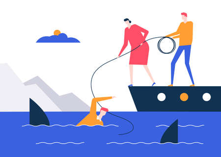 Motivation - colorful flat design style vector illustration on white background. Metaphorical composition with a businessman being chased by sharks, his colleagues on the boat throwing a safety rope