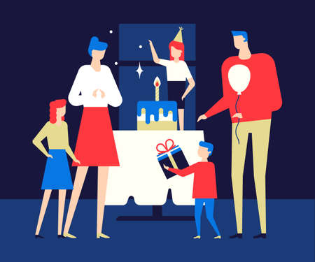Happy birthday party - flat design style illustration. High quality composition with cheerful people, family, parents and children celebrating, congratulating a girl on her holiday, giving presents