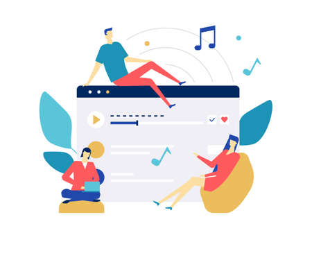 Listening to music - flat design style colorful illustration on white background. Quality composition with male, female characters, cute boy, girls enjoying the sound, playlist from a computer, laptop