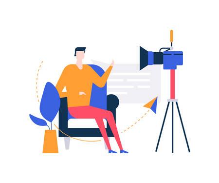 Blogueur vidéo - illustration de style design plat coloré sur fond blanc. Composition inhabituelle avec un homme créatif en streaming en ligne devant la caméra, assis sur une chaise, parlant