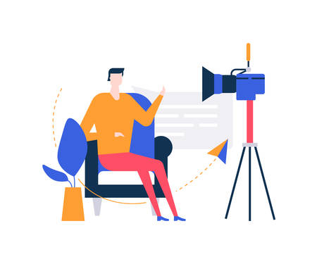 Video blogger - colorful flat design style illustration on white background. Unusual composition with a creative man streaming online in front of the camera, sitting on a chair, talking Imagens - 125260349