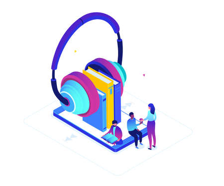 Listening to audiobooks - modern colorful isometric vector illustration on white background. A composition with male, female characters, big earphones with books on smartphone screen, online service