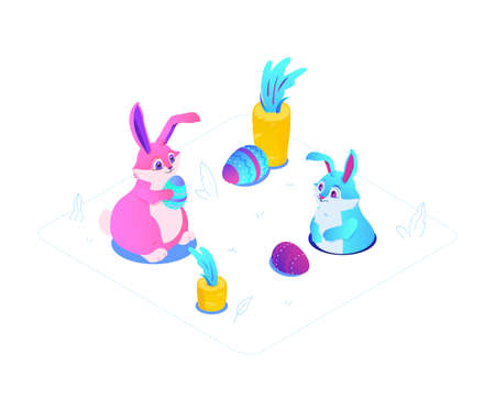 Happy Easter - modern colorful isometric vector illustration on white background. High quality unusual composition with cute blue and pink rabbits, holiday symbols, growing carrots, decorated eggs Stock Illustratie