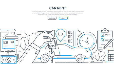 Car rent - modern line design style banner on white background with copy space for text. A composition with a vehicle, hand holding key, timer, geo location, check list, ways of payment