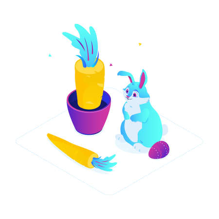 Happy Easter - modern colorful isometric vector illustration on white background. High quality unusual composition with a big cute blue rabbit, holiday symbol, carrot in a pot, decorated egg Çizim