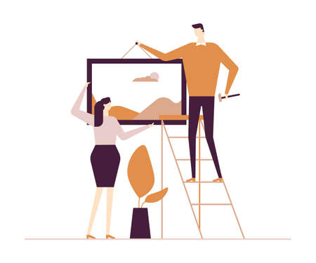 Couple hanging a picture - flat design style colorful illustration on white background. High quality composition with male, female characters, wife and husband placing a painting on the wall at home Standard-Bild - 125194294
