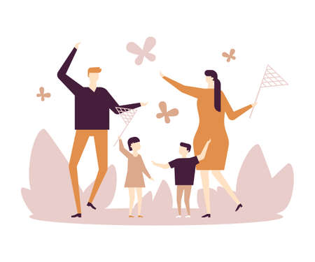 Family catching butterflies with nets - flat design style illustration on white background. A composition with young parents, children, son and daughter having fun together. Outdoor activity concept