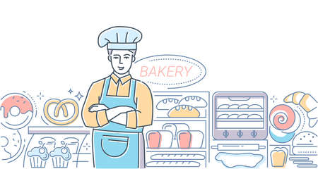 Bakery - modern line design style colorful illustration